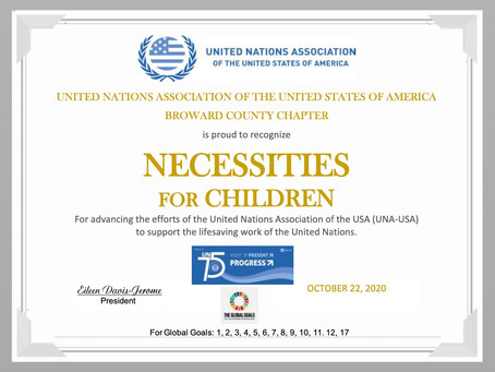 Necessities For Children is recognized by                           UNA-USA Broward County Chapter