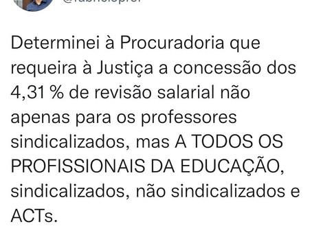Fabrício anuncia requerimento à Justiça para conceder 4,31% de reajuste a profissionais da Educação