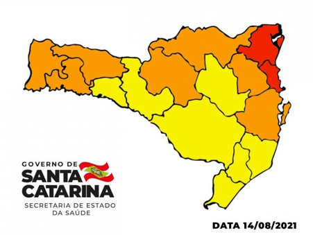 Coronavírus: apenas Foz do Rio Itajaí e região Nordeste do Estado estão em nível gravíssimo