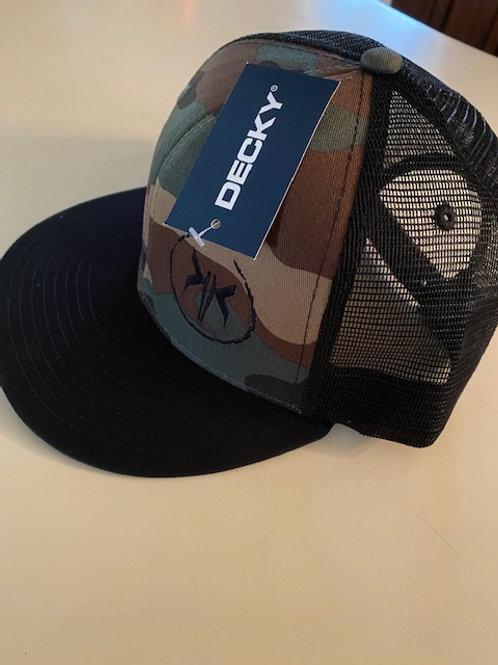 Camo and Black trucker hat