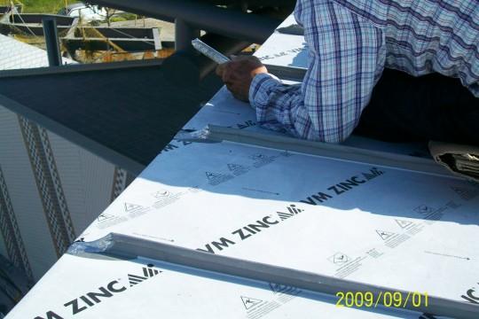 鈦鋅板片簷口處防水錫焊