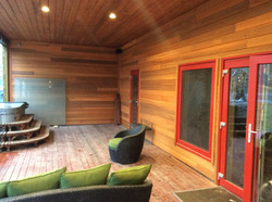 Custom clear western red cedar stained and installed with Innotech windows