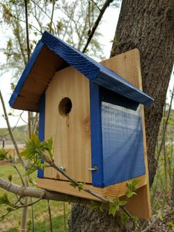 cedar bird house painted blue
