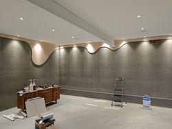 Maple trim covering foundation holes