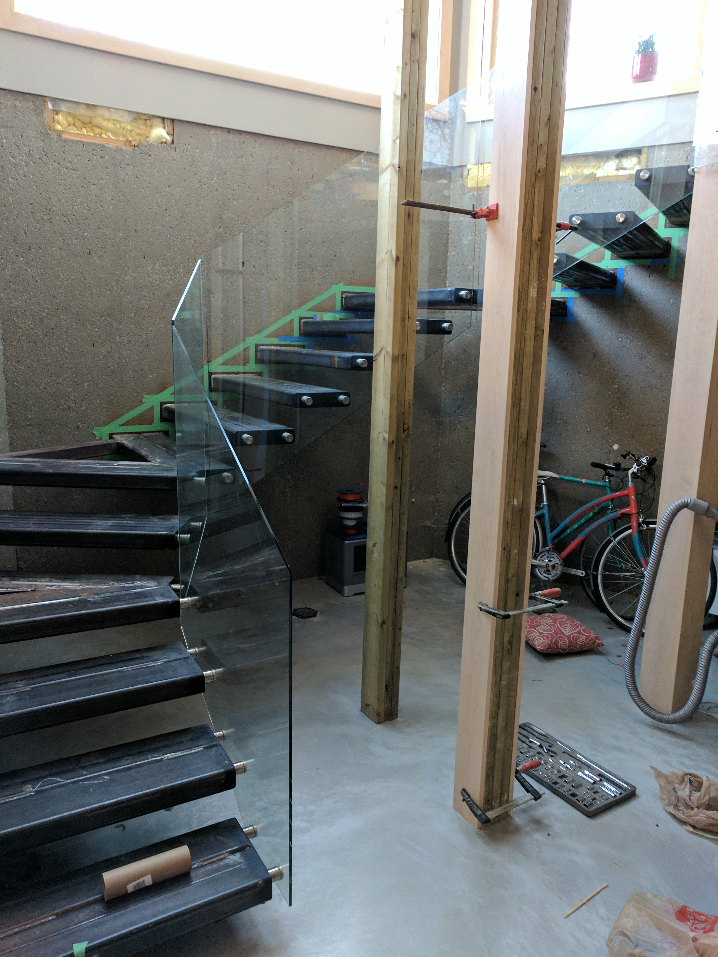 Basement cantilevered stairs under construction