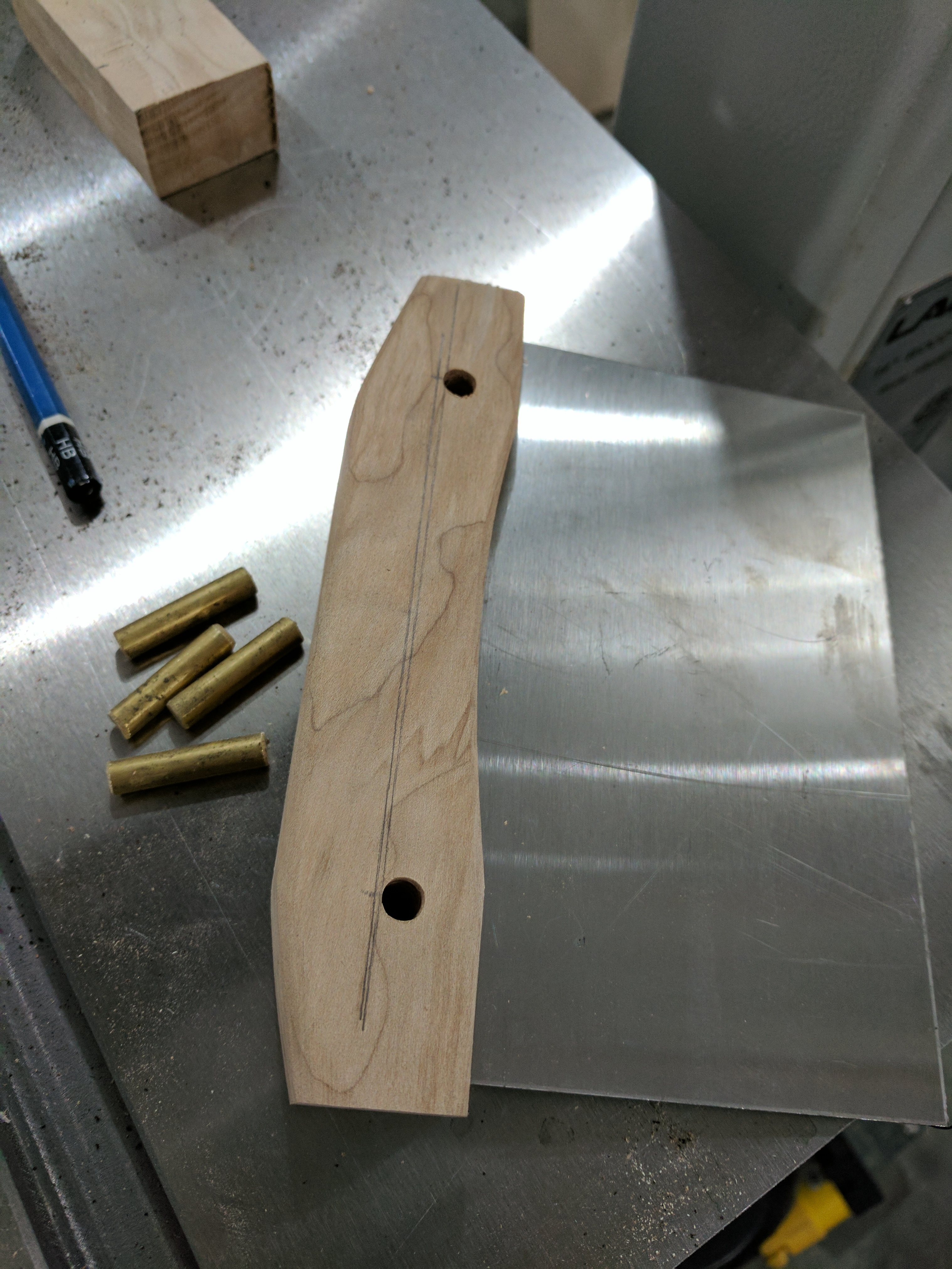 Bench knife in progress with holes drilled