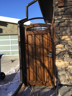custom fir side gate with steel powdercoated structural frame