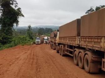 Após chuva, pelo menos 5 mil caminhões ficam parados na BR-163 e tráfego é suspenso