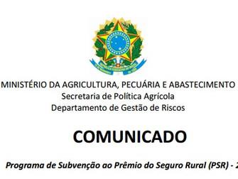 [Comunicado] Programa de Subvenção ao Prêmio do Seguro Rural (PSR) - 2016