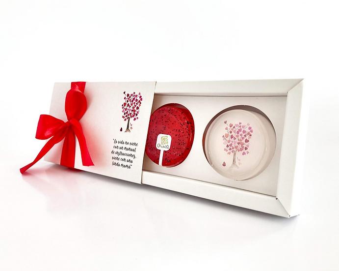 Caja de Regalo Árbol de corazones, 2 jabones de 45gr.