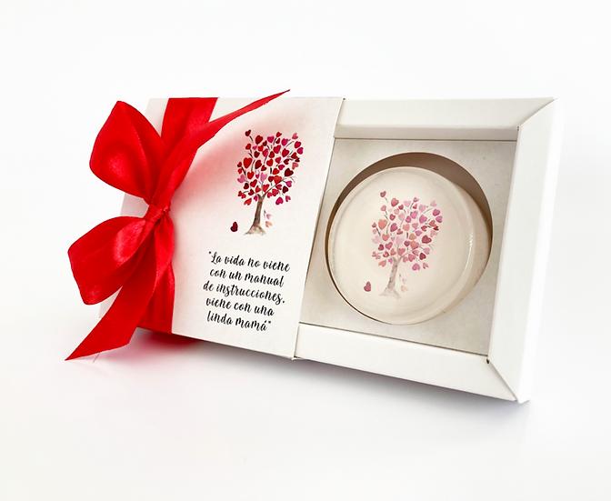 Caja de Regalo Árbol de corazones,  jabón de 45 gr.