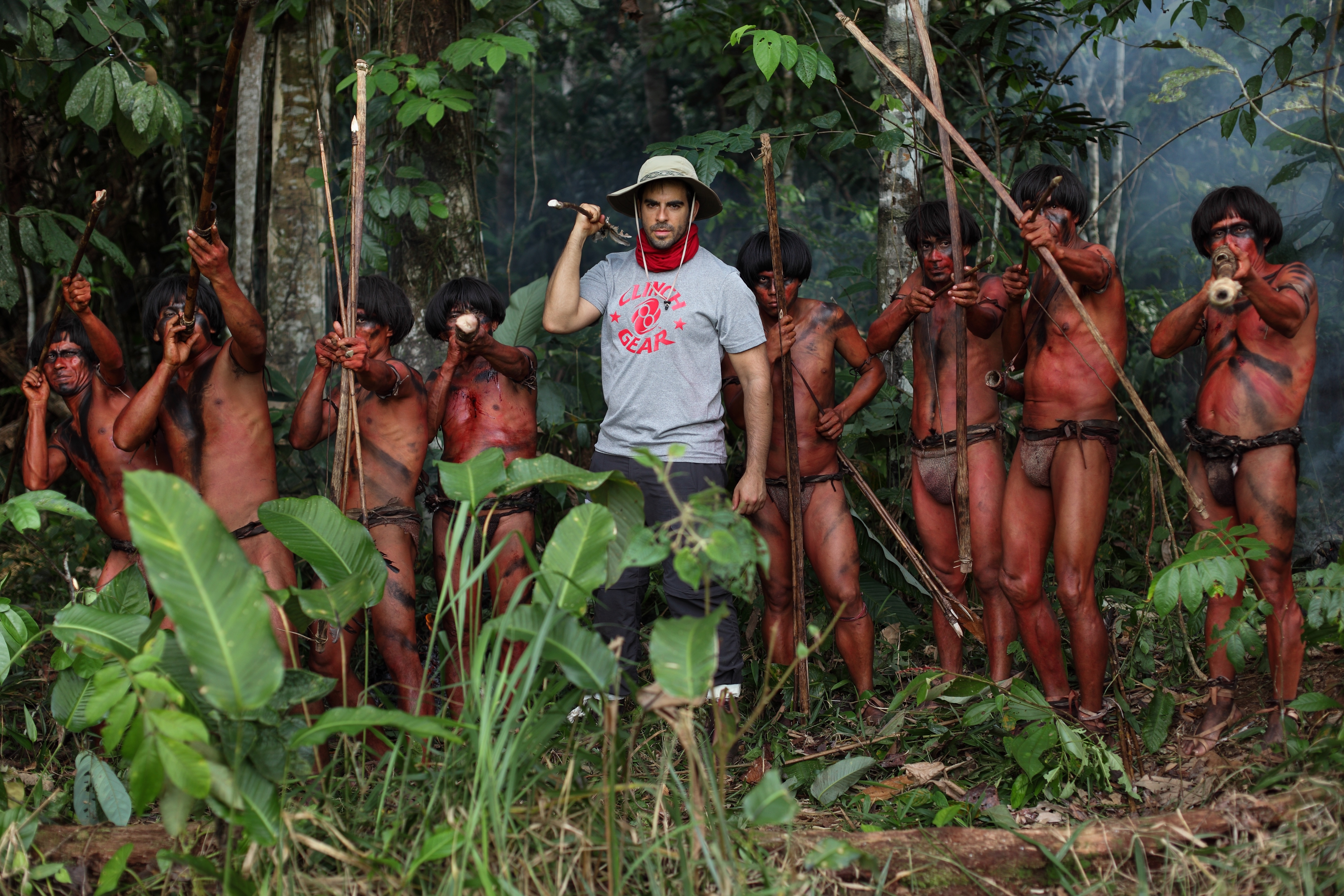 Eli Roth on location in the Amazon filming The Green Inferno. Photo credit, Eduardo Moreno