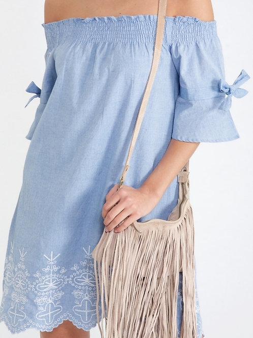 Blue Off the Shoulder Embroidered Dress