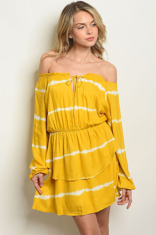 YELLOW WHITE TIE DYE DRESS