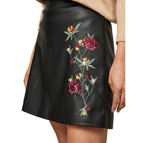 PU Embroidered Skirt by Miss Selfridge