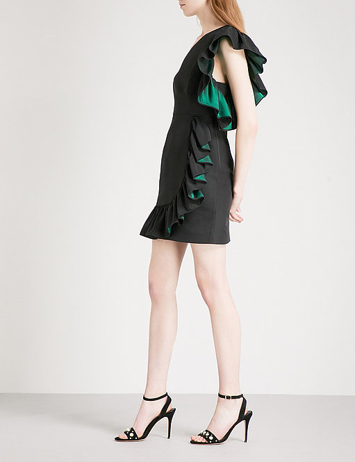 One-Shoulder Ruffled Poplin Mini Dress by Sandro