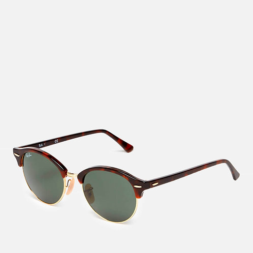Clubround Flat Lenses Half Metal Frame Sunglasses by Ray-Ban