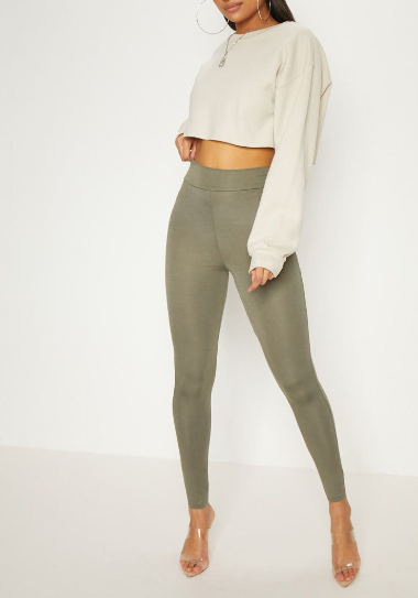 Basic Khaki High Waisted Jersey Legging
