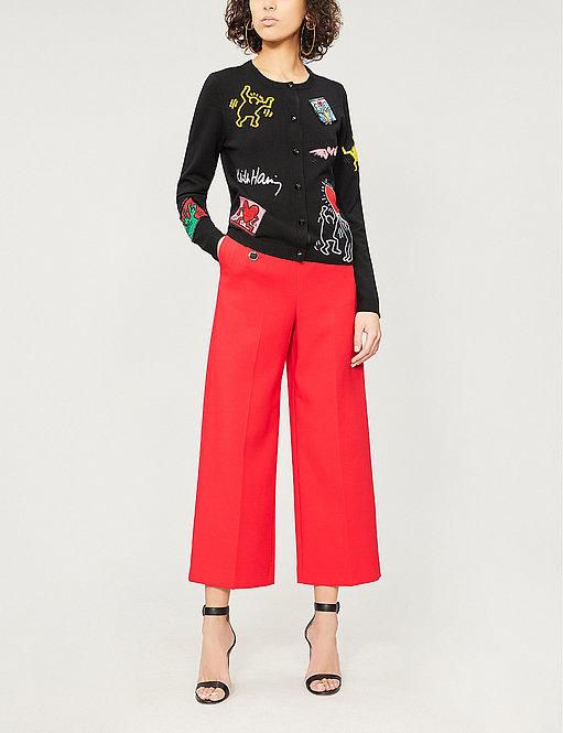 High-Rise Wide Woven Trousers by Karen Millen
