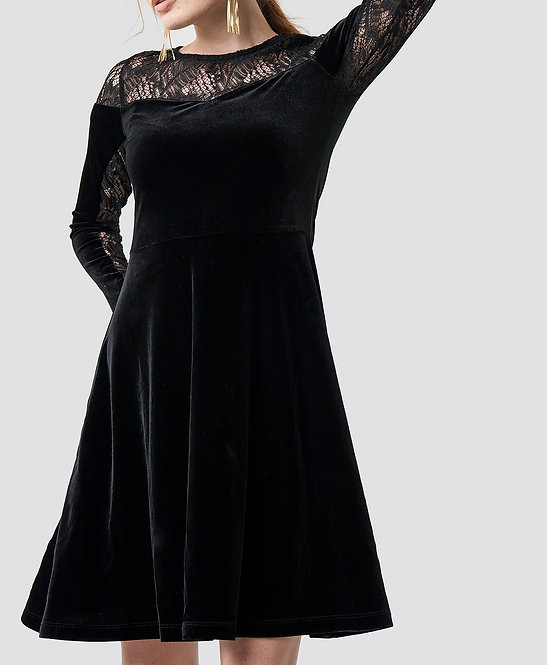 Velvet Lace Detailed Evening Dress by Trendyol