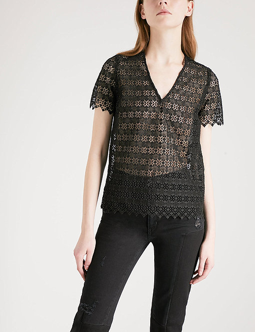 Geometric-Lace Sheer Top by Sandro