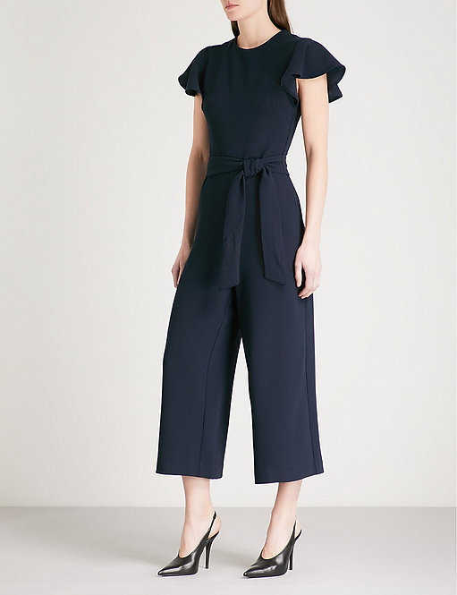 Frill-Sleeve Crepe Jumpsuit by Warehouse