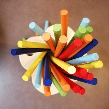 houten speelgoed, Mikado, kleurrijk