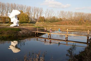 dwerg, reus, brug, water, weerspiegeling, zussen, Puyenbroeck