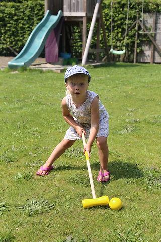 crocquet, bal, spel, houten speelgoed, tuin, glijbaan, zandbak, schommel, trapeze