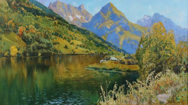 Осенний день у озера 50х88 см $870