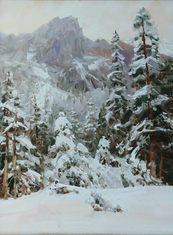 Елки под снегом 40х30
