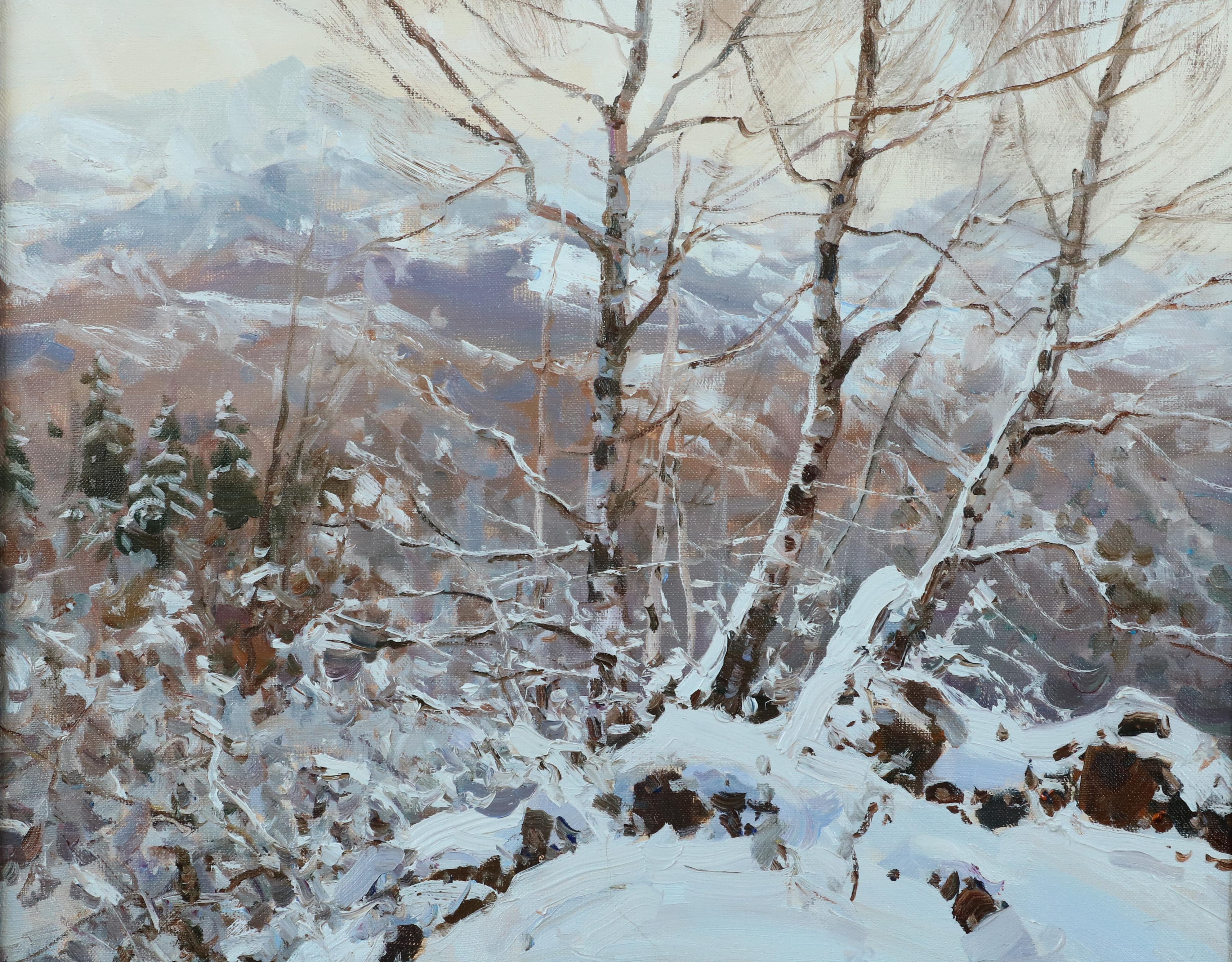 Березы,первый снег.40х50.