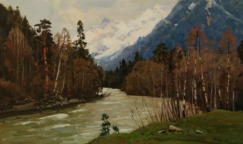 Весна на реке Кызгыч.45х75..JPG