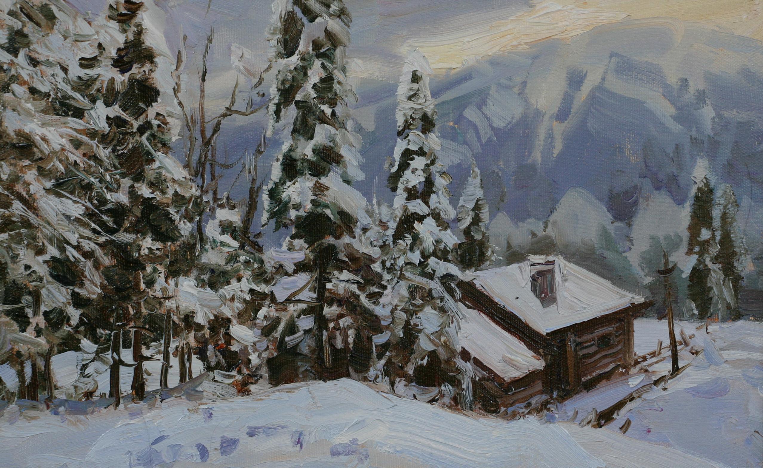 Зима в горах .Этюд.25х40.