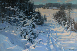 Снежное утро 80х120