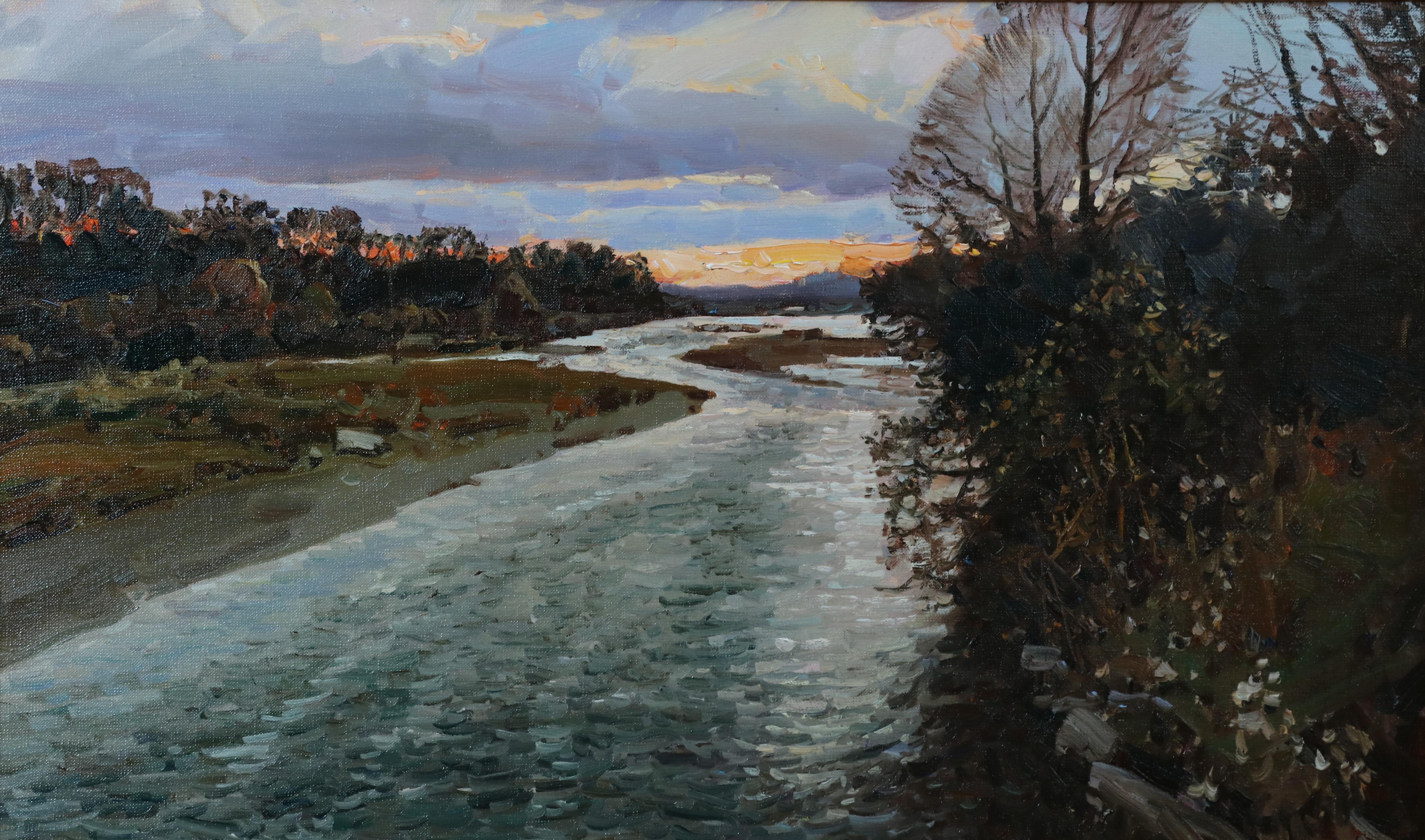 Вечер на реке.45х75.