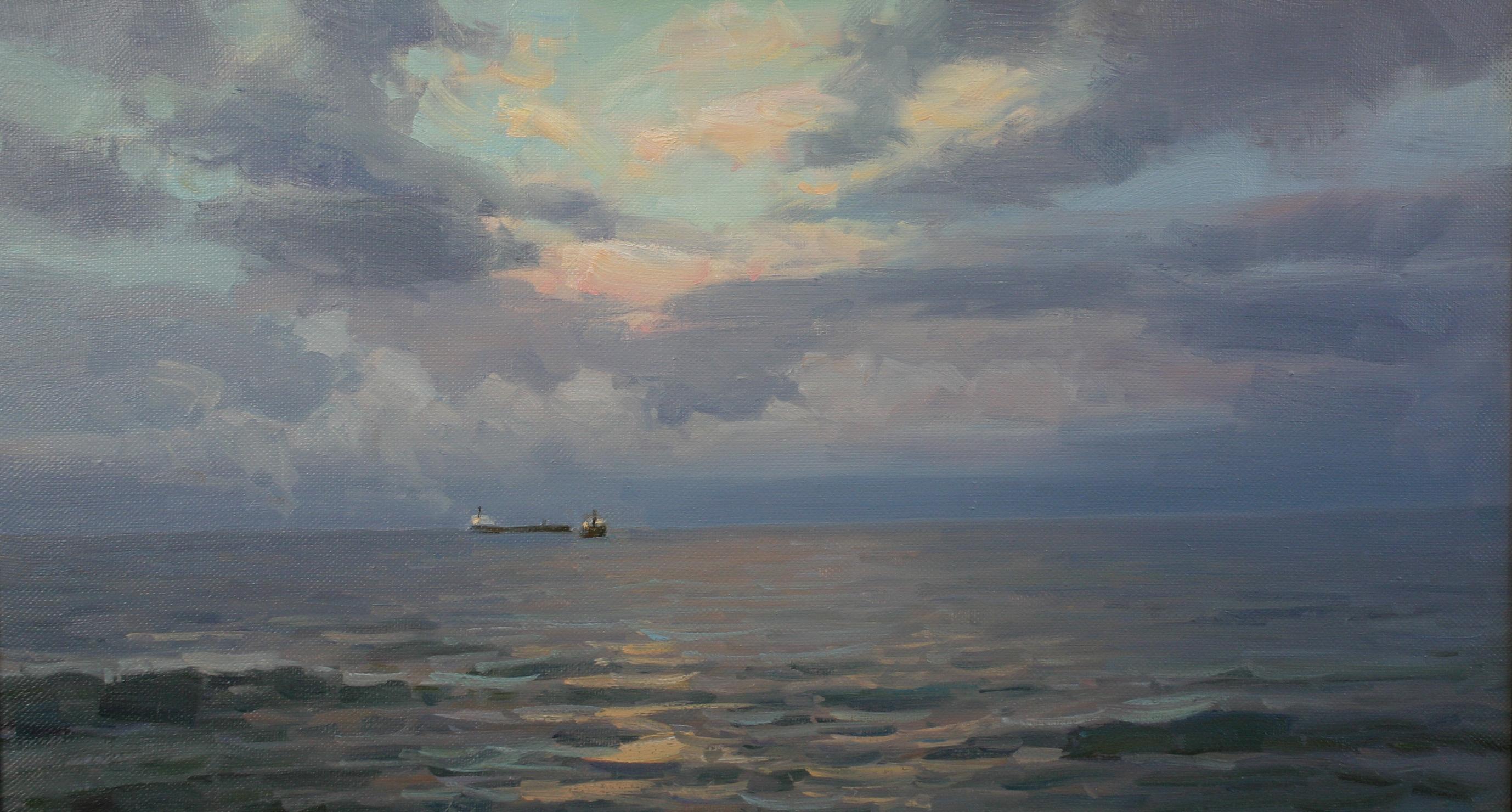 Ранний рассвет. Море.50х90