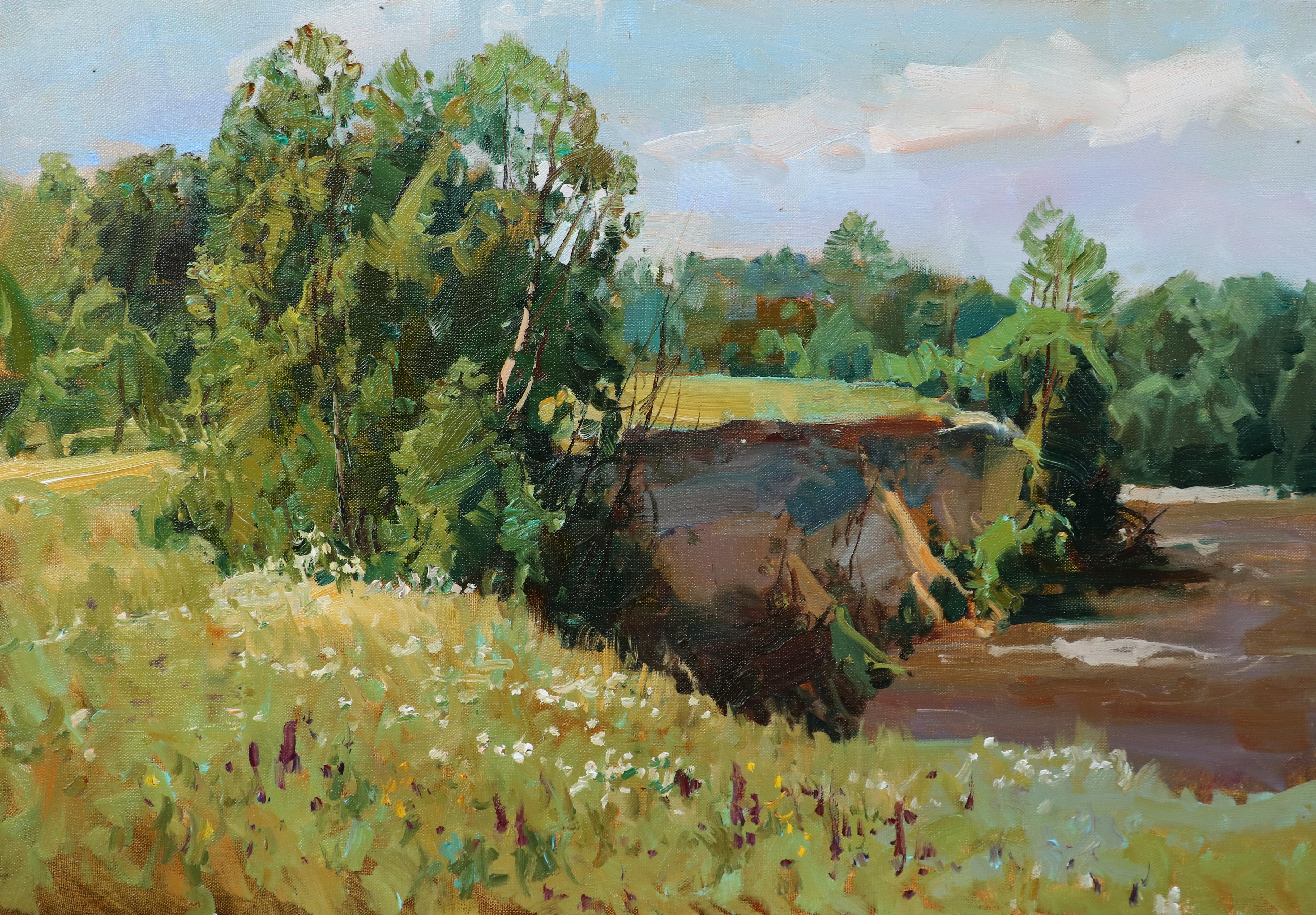 Обрыв у реки.45х65