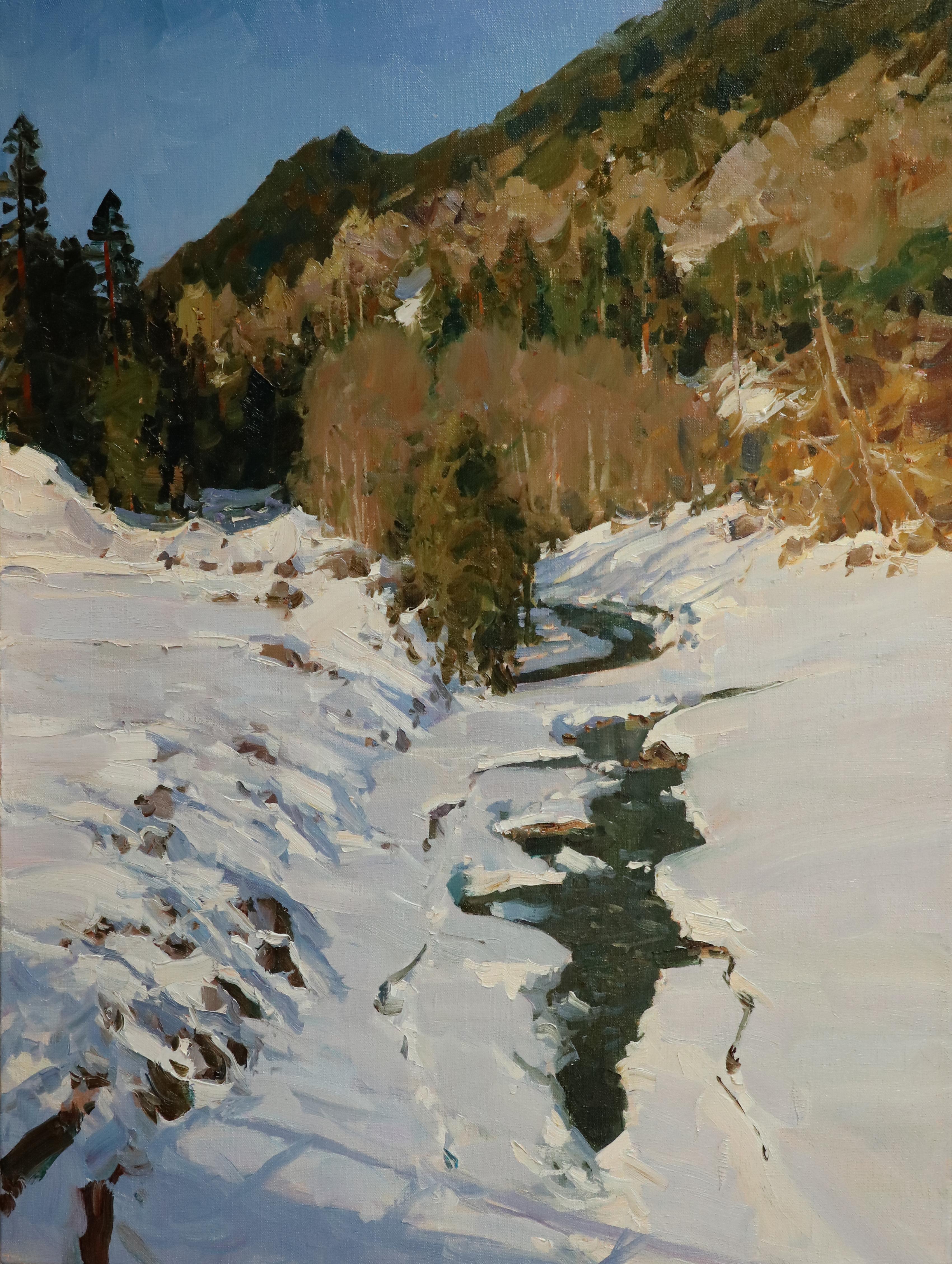 Зимний ручей в Архызе.80х60.