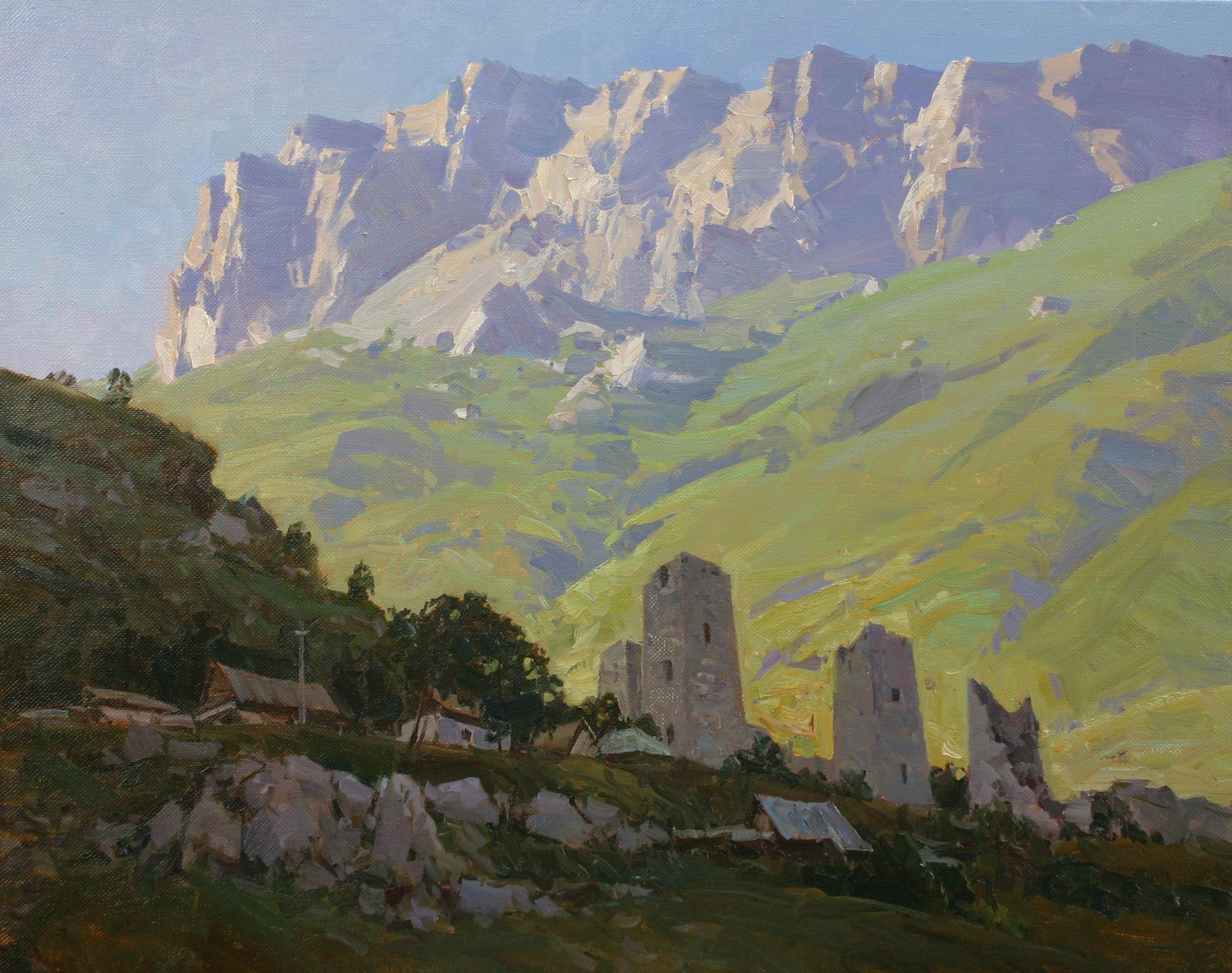Башни на фоне скалистых гор.80х100.