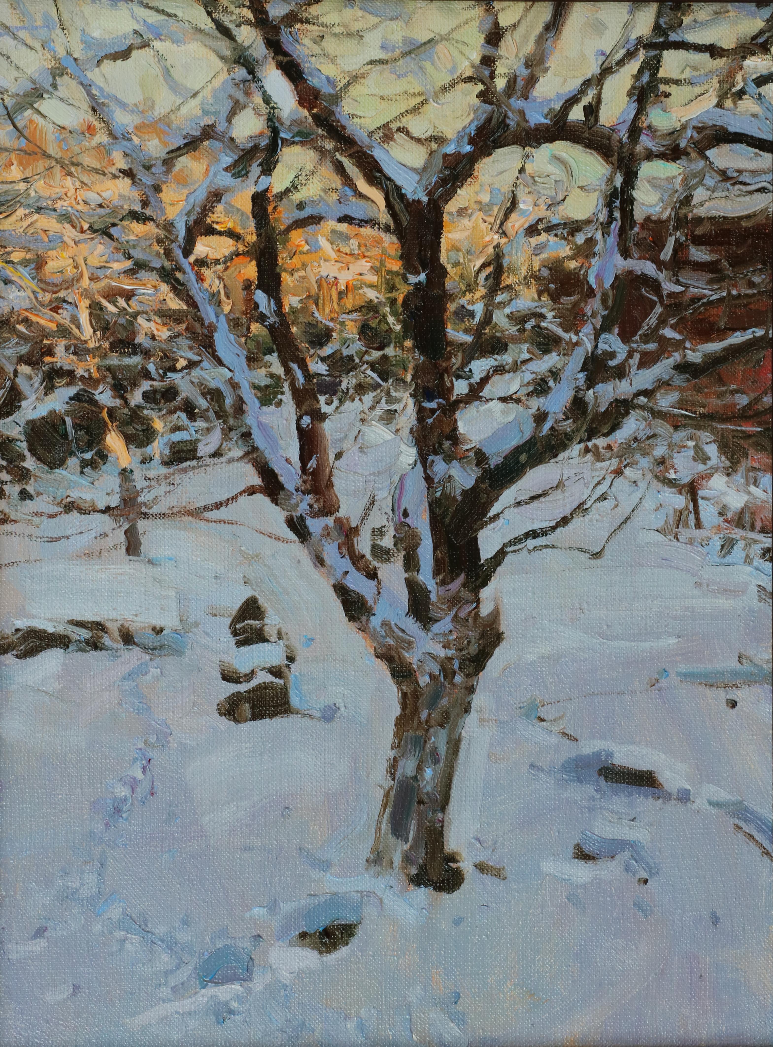 Яблоня в снегу 40х30 см