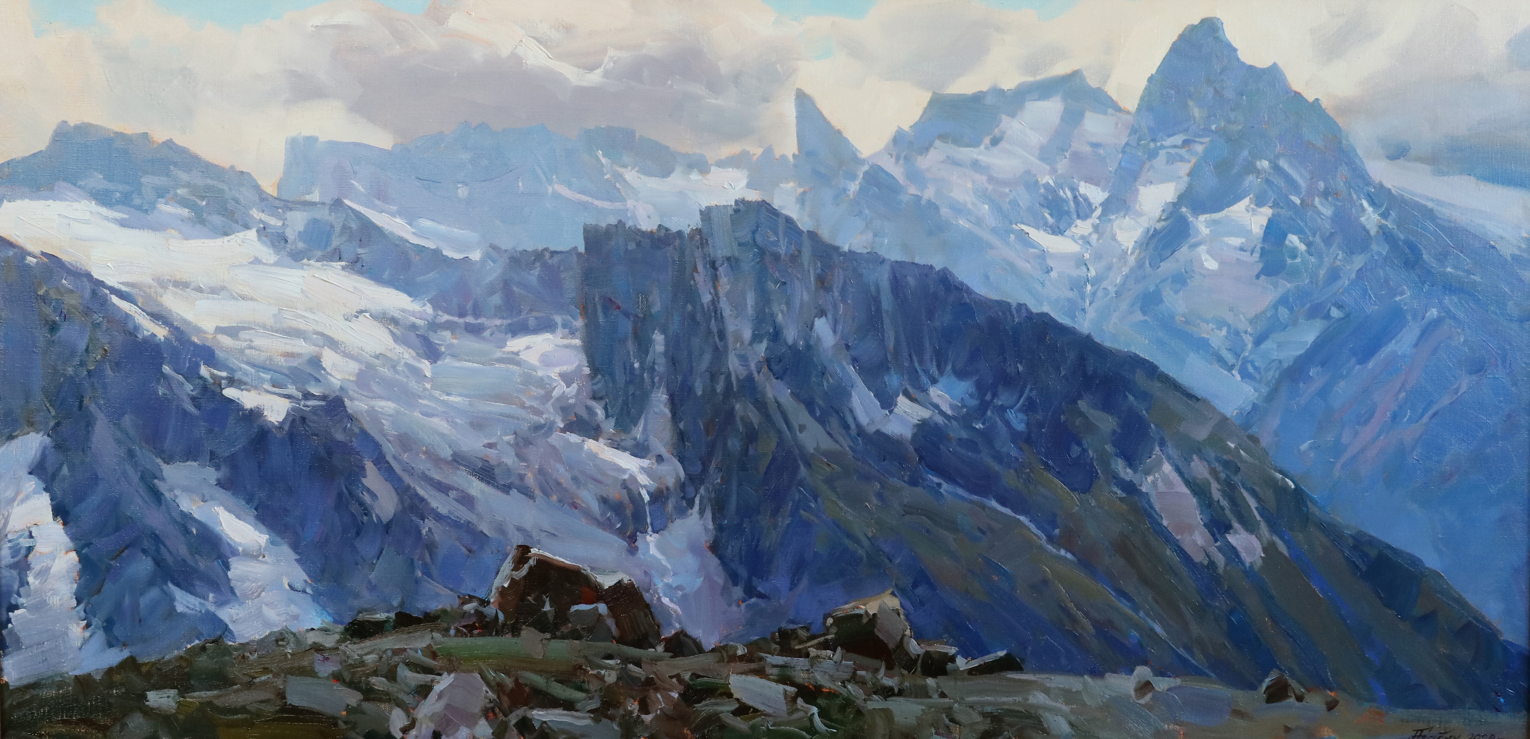 Ледник Джугут Турлчат с высоты..60х120..