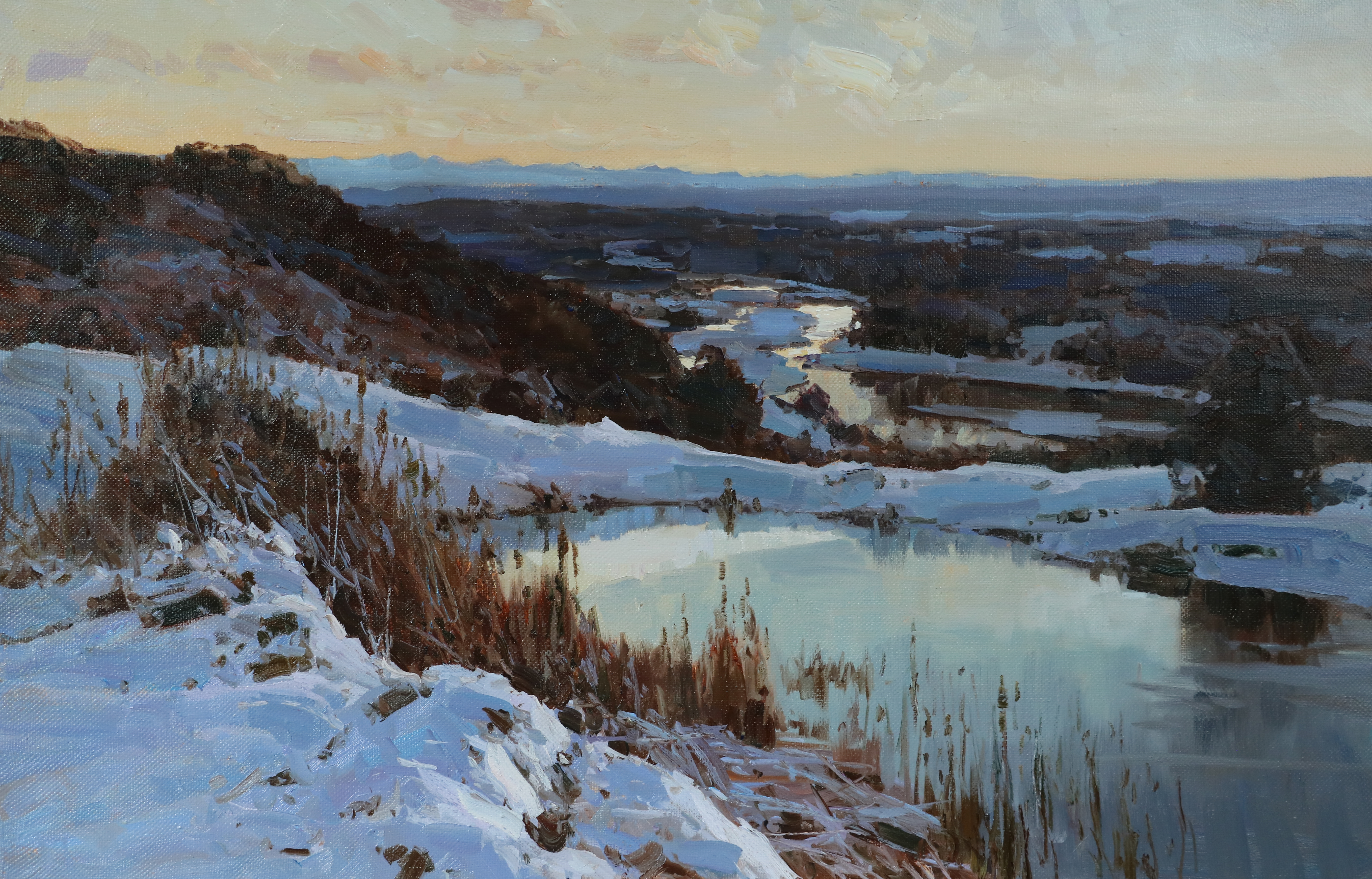 Зимой у верхнего пруда.65х100