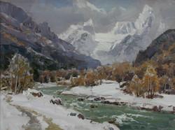 Зимка на реке Теберда.30х40
