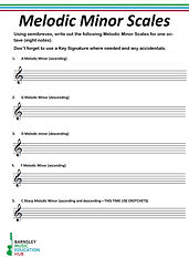 Melodic Minor Scales Worksheet Screensho
