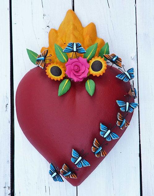 Corazón Barro 24x17cm.