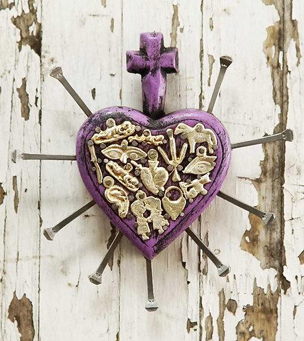 Corazón Milagrito Madera  16x16cm.