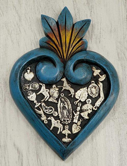 Corazón Milagrito Madera  20x13cm.