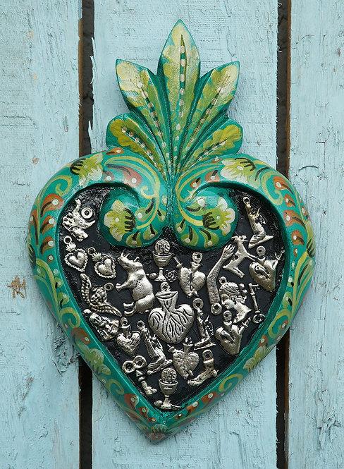 Corazón Milagrito Madera  22x15cm.
