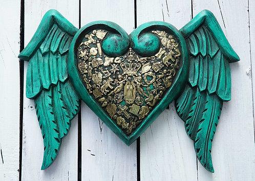 Corazón Milagrito Madera 31x24cm.